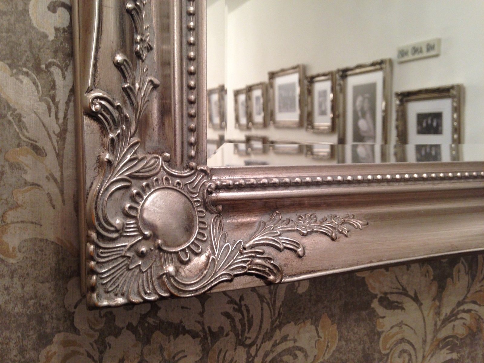 X LARGE Antique Silver Shabby Chic Ornate Decorative Wall